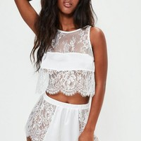 Missguided - White Lace Cropped Cami Set