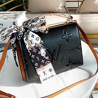 LV Louis vuitton new embossed monogrammed monogrammed printed logo with silk scarf for ladies shopping cross-slant bag