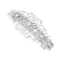 Silver Flowers and Hearts Filigree Barrette with Rhinestone Accents