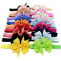 Sun Baby 20 Pack Headband Headwear Stretchy Headband Grosgrain Ribbon Hair Bows,Great for Photograph Props