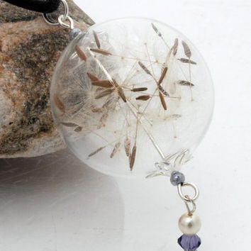 Dandelion clock seed glass orb globe pendant with pearl and lavender Swarovski crystal charm- Great for spring or summer