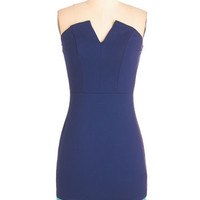 ModCloth Colorblocking Mid-length Strapless Sheath Colorblock and Roll Dress