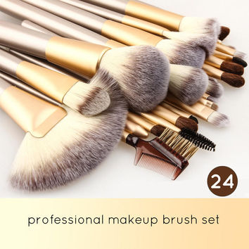 Professional Essential Cosmetic Make Up Brushes Kit with White Leather Bag