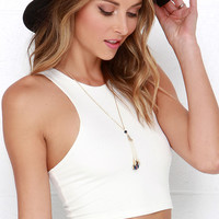 All Fired Up Ivory Crop Top