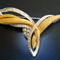 CINER Rhinestone Gold & Silver Brooch, Sweeping Winged Style, Signed Vintage