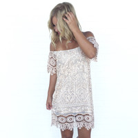 SKY Minka Crochet Off Shoulder Dress In Nude