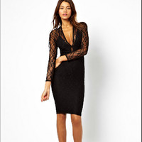 Hot Sale Sexy See Through Deep V Lace Double-layered Design Spaghetti Strap One Piece Dress [4981693252]