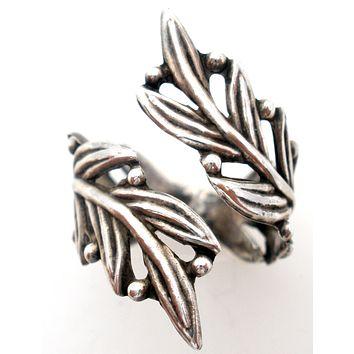Taxco Leaf Bypass Ring Sterling Silver Size 9