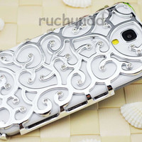 Galaxy S4 Case - Handmade Luxury Silver Chrome Hollow Pattern With Bling Crystal Back Case Cover Skin For Samsung Galaxy S4 I9500