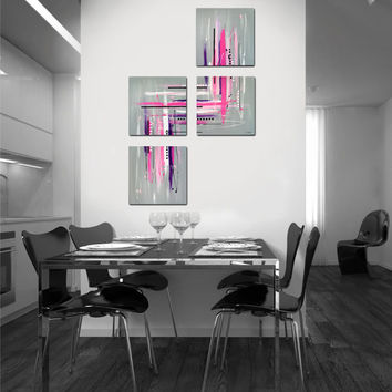 "Original abstract painting. 4 piece canvas art. 40x26"" Large painting with girly colors. Pink purple, pastel pink, gray."