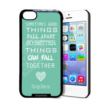 Shawnex Marilyn Monroe Quote Love Turquoise iPhone 5C Case - Thin Shell Plastic Protective Case iPhone 5C Case
