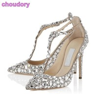 Bling Bling Crystal Women Wedding Shoes Pointed Toe Super Stiletto High Heel Sandals T-tied Cover Heel Buckle Strap Pumps