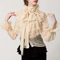 Perspective Bowknot Flare Long Sleeve Ruffle Shirt