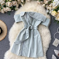 Women Korean Strapless Party Sashes Short Dress Solid Sexy Slash Neck A Line Dress Summer Holiday Beach Sundress
