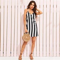 Two Tone Striped Racerback Cami Dress Women Spaghetti Strap V Neck Sundress Straight Sleeveless Casual Dress