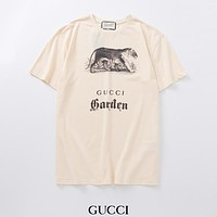 GUCCI Summer new fashion letter tiger print couple top t-shirt