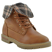 Girls Foldover Combat Ankle Boots Tan