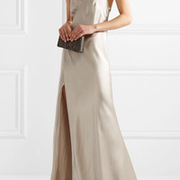 Michelle Mason - Chain-embellished silk-charmeuse wrap gown
