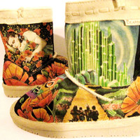 Boots Hand Painted, BEARPAW toddler size 13 Wizard of Oz