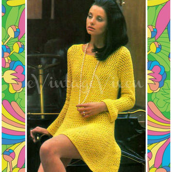 INSTANT DOWNLOAD 1960s Bell Long Sleeve Dress Vintage Crochet Pattern Clubbing Party Summer Resort Holiday UK Mod Beauty Vintage Beso
