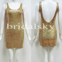Sexy Open Back Gold Sequined Sheath Wrap Style Prom Dresses Cocktail Dresses Evening Dresses Formal Party Dresses Wedding Events 2014