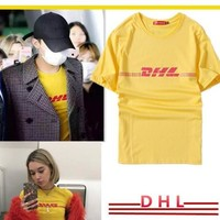 Fashion DHL T shirt Men DHL Letter Printed Skateboards T-Shirts 100% Cotton Summer Style Short Sleeve Causal Tee