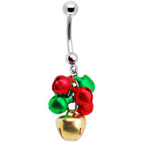 Handcrafted Green Red Holiday Jingle Bells Belly Ring | Body Candy Body Jewelry
