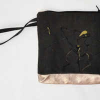 Wristlet Leather Bottom Clutch Bag Hand Painted