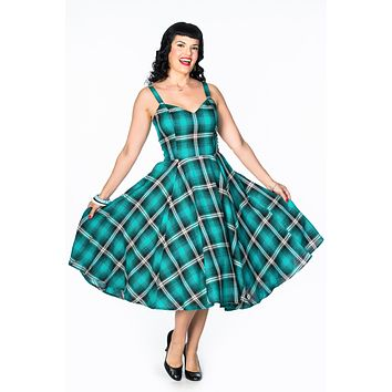 Vera Dress in Hot Rod Turquoise Plaid