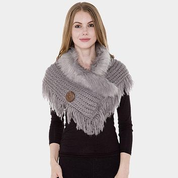 Faux Fur Collar Detail Cable Knit Tassel Shawl Scarf (Click For More Colors)