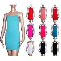Seamless Spaghetti Strap Extra Long Solid Camisole Plain Jersey Tunic Tank Top