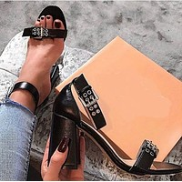 New women's shoes, belt buckle, thick-heeled high-heeled sandals women shoes