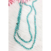 """60"""" Long Beaded Necklace, Turquoise"""