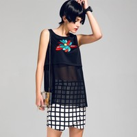 Summer Black Embroidery Patchwork See Through Vest Chiffon Tops Bottoming Shirt [8082496263]