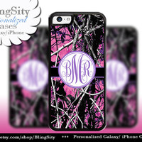 Camo Purple Monogram iPhone 5C 6 Plus Case iPhone 5s 4 case Ipod muddy Realtree Personalized Country Inspired Girl