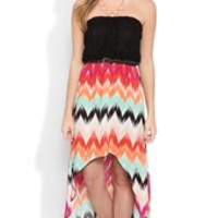 Strapless High Low Dress with Tribal Print Skirt