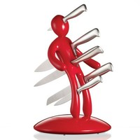 he Ex 5-Piece Knife Set with Unique Red Holder Designed