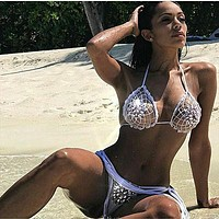 Adriana Arango 2019 Diamon Jewel Crochet Bikini Women Swimwear Rhinestone Swimsuit