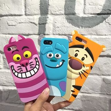3D Cartoon Winnie Pooh Tigger Case For iPhone 8 7 6 6S Plus X XS Cute Strawberry bear Stitch Animal Soft Silicon Cover Coque