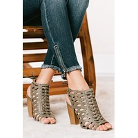 Step Into Style Braided Cage Heeled Sandals (Distressed Khaki)