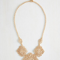 Boho, Statement, Vintage Inspired, 20s, French Filigree to the Brim Necklace by ModCloth