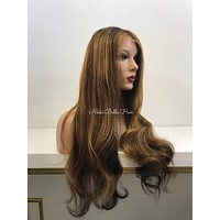 Brunette Balayage' Human Hair Multi Parting Lace Front Wig - Casey