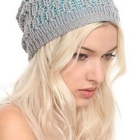 Turquoise And Grey Double Layer Beanie - 651476