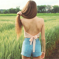 Women Sexy Sleeveless Crop Top