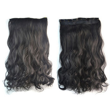 Thick Hair Extension Long Curled Hair 5 Cards Wig natural black