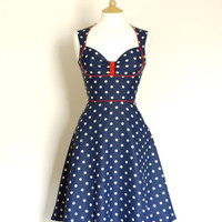 Navy Polka Dot Bustier Tea Dress- Made by Dig For Victory