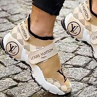 Inseva Louis Vuitton Women Shoes Velcro Toes Letters With Shoes Tail Letters Sneakers White Tartan
