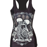 Alisister 2016 Newest graphics skull Tank top women print 3d sleeveless shirt harajuku flower top clothing camisole feminina