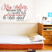 Art Wall Decals Wall Stickers Vinyl Decal Quote Room Decor  - Keep Smiling - Marilyn Monroe
