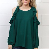 Long Sleeve Ruffled Cold Shoulder Blouse {Forest} EXTENDED SIZES